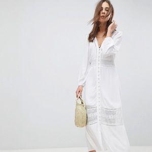ASOS White Maxi Peasant Dress w Button Front 14